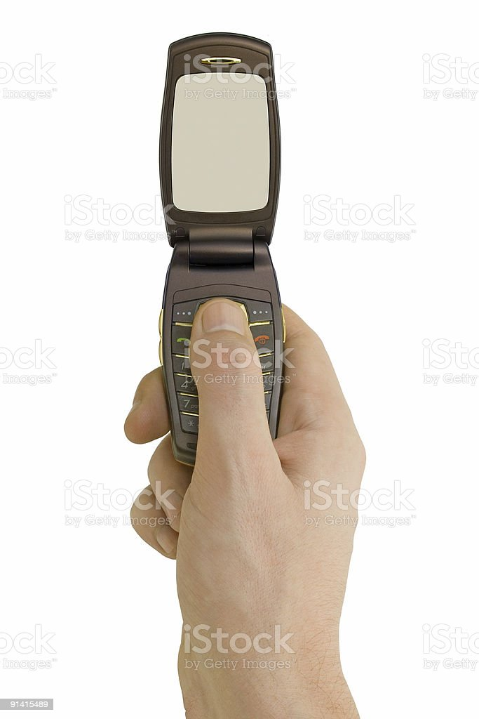 Flip phone in hand royalty-free stock photo