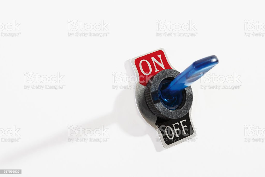 Flip switch on-off stock photo