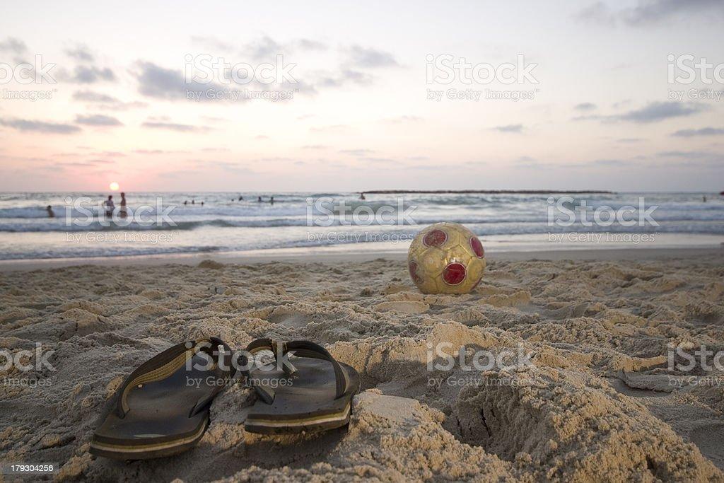 flipflops and ball stock photo