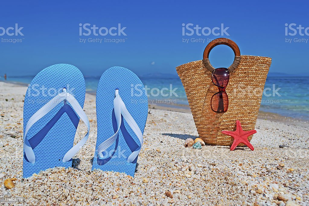 flip-flops and straw bag royalty-free stock photo