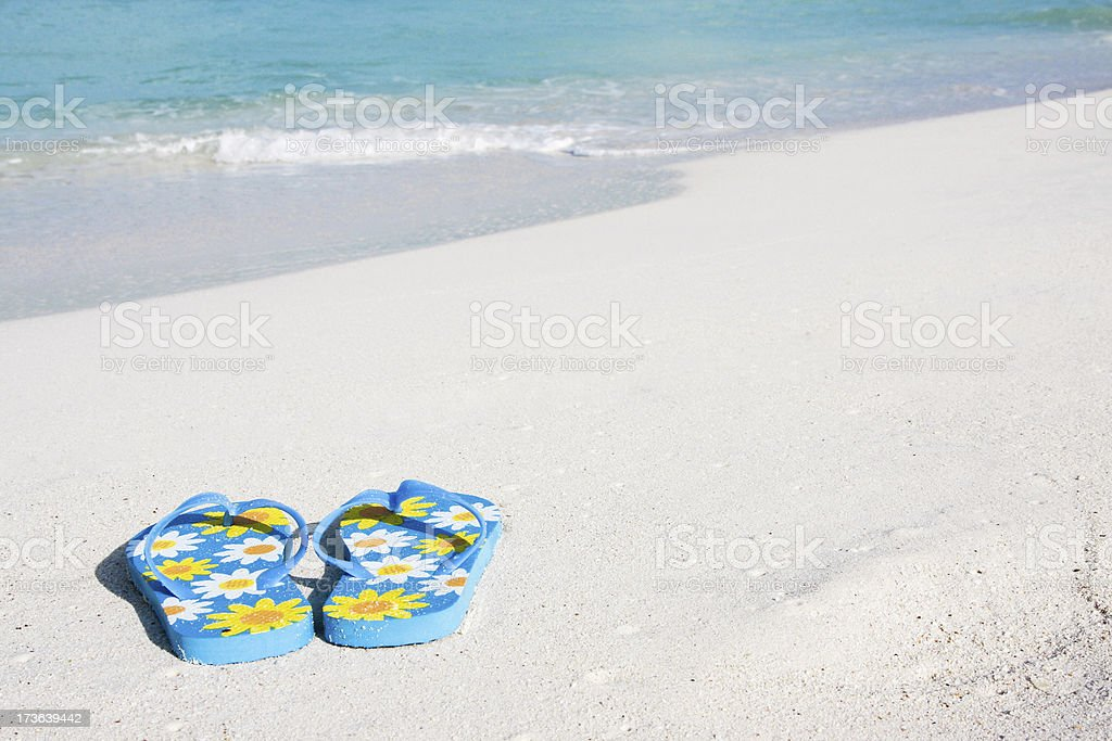 Flip-flops at the beach # 4 XL royalty-free stock photo