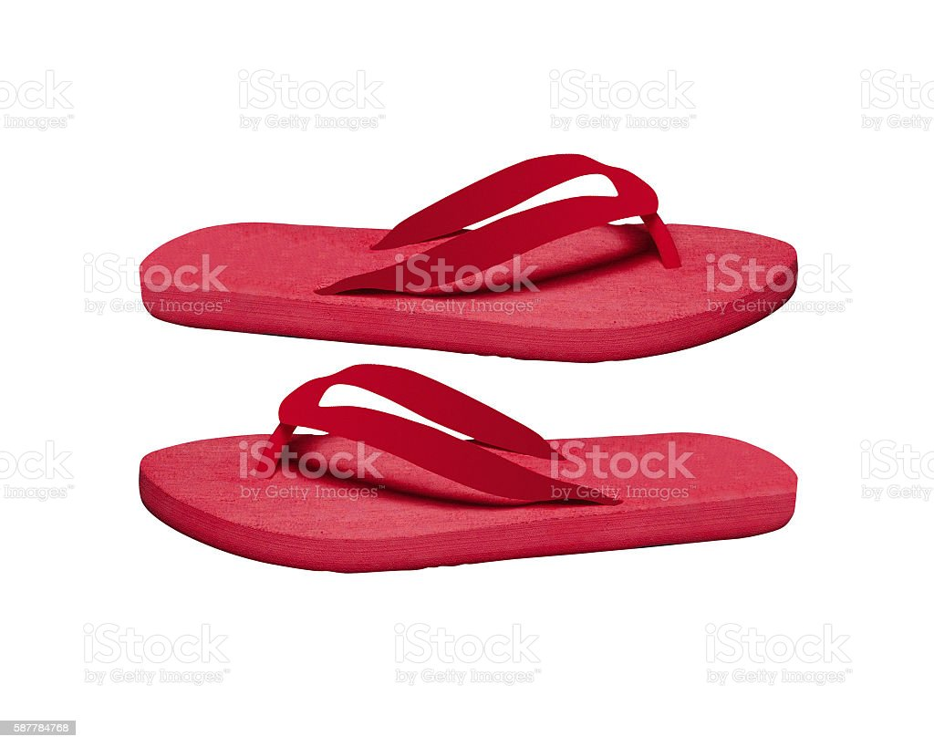 flip-flops on a white background stock photo
