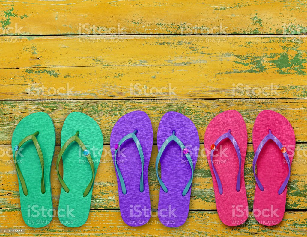 Flip-flops on deck stock photo