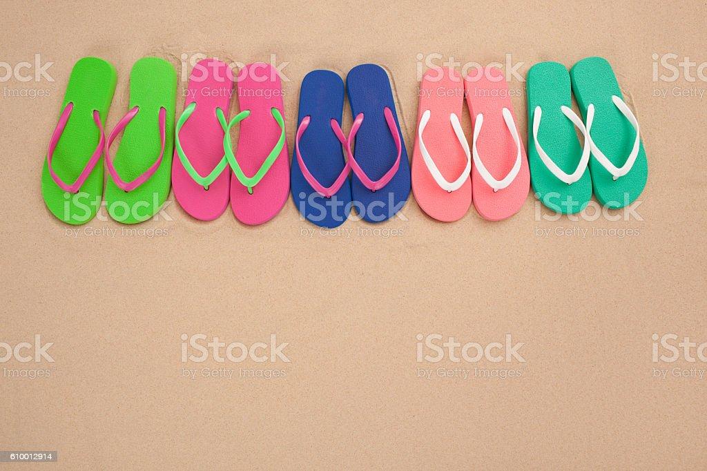 Flip-flops on sand. stock photo