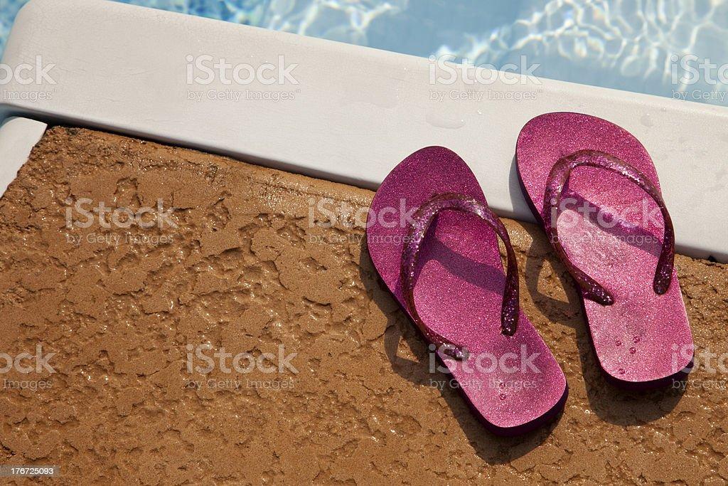 Flip-flops Poolside royalty-free stock photo