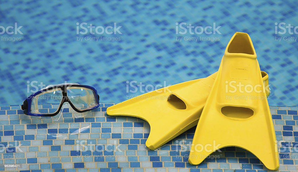 flippers and diving mask stock photo