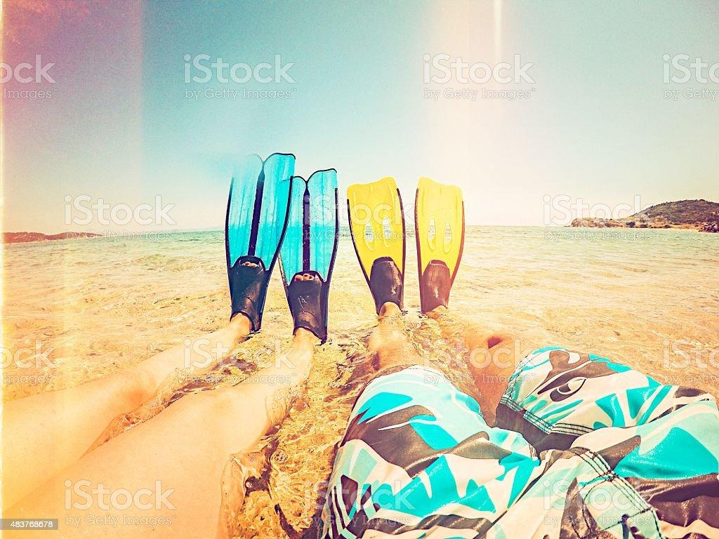 Flippers selfie stock photo