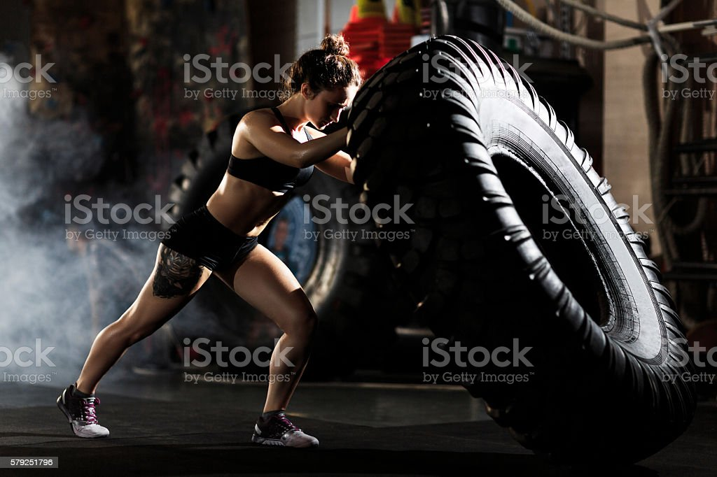Flipping in gym stock photo