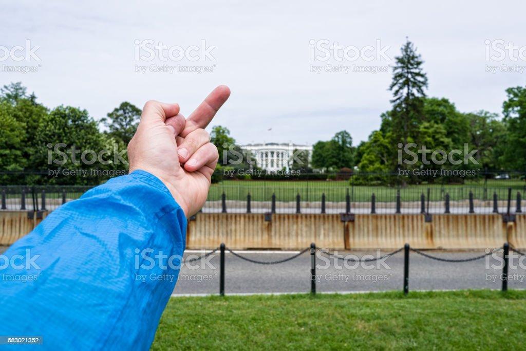 Flipping Off the White House Middle Finger Washington DC stock photo