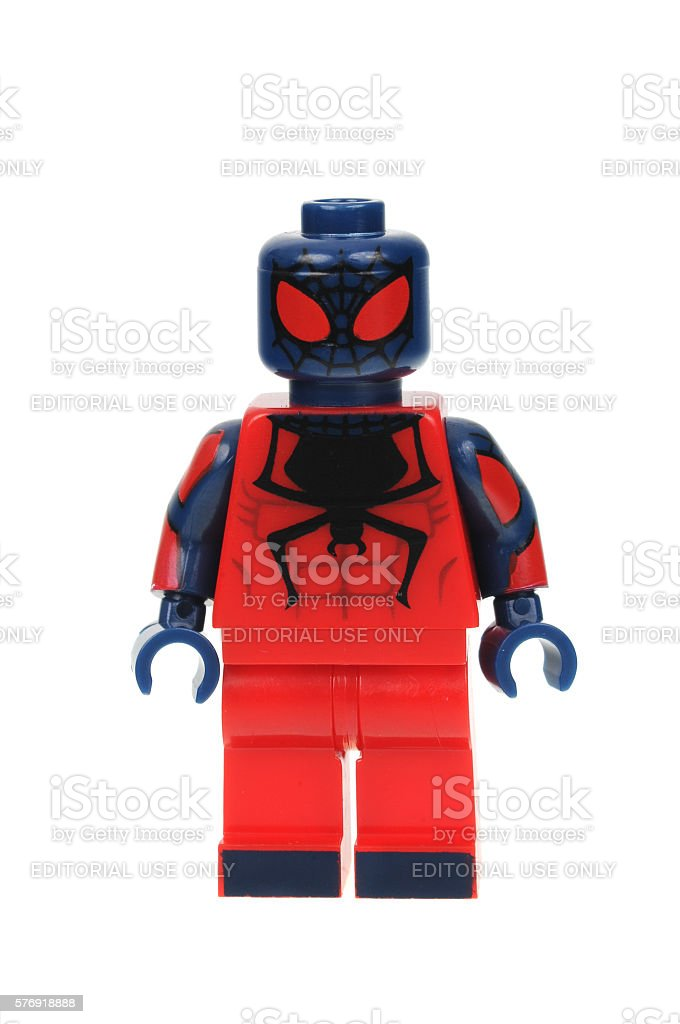 Flipside Spiderman Lego Minifigure stock photo