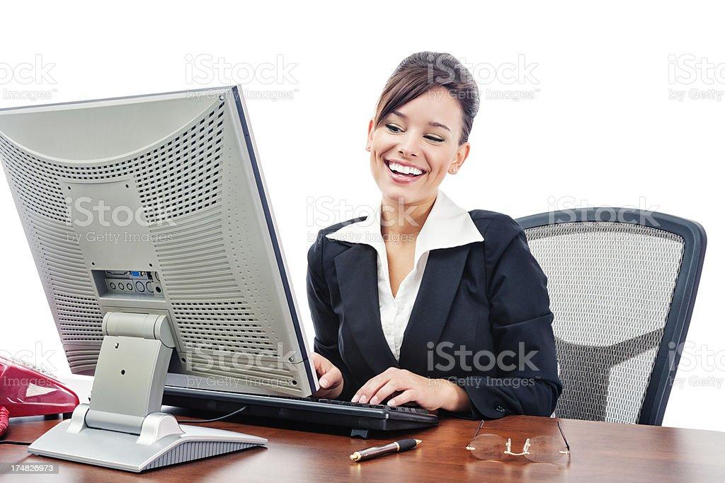 Flirtatious Businesswoman Chatting Online royalty-free stock photo
