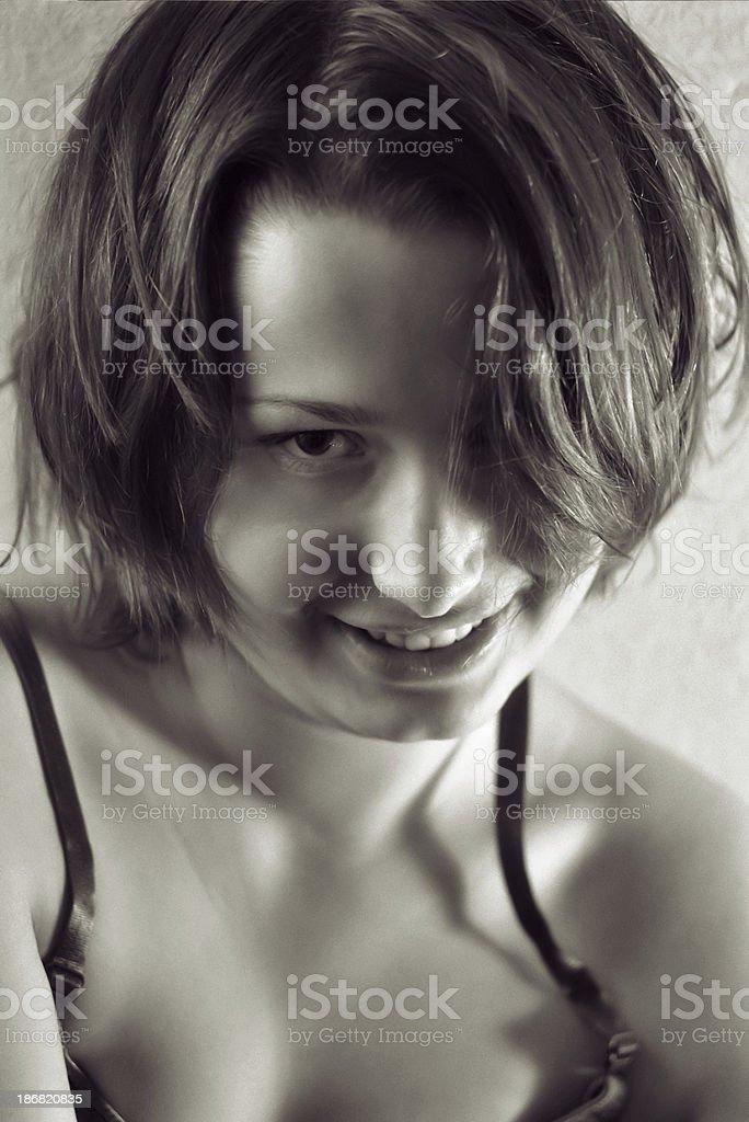 Flirtatious smile royalty-free stock photo