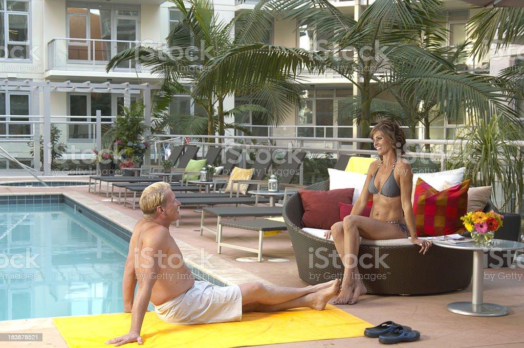 Flirting at Pool stock photo