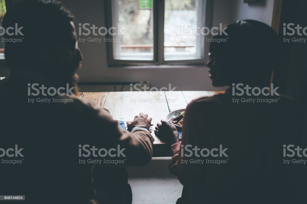 Flirting couple on lunch stock photo