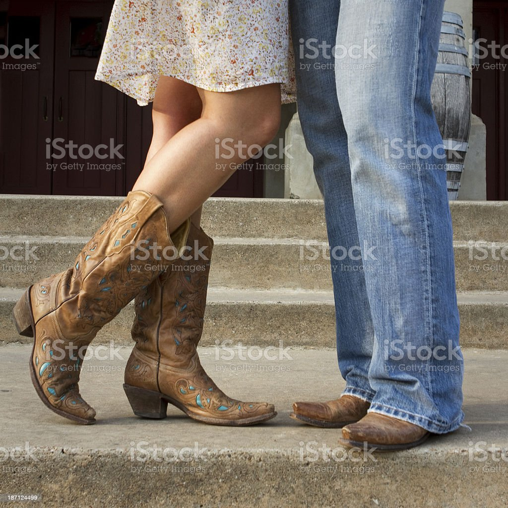 Flirting Cowgirl and Cowboy stock photo