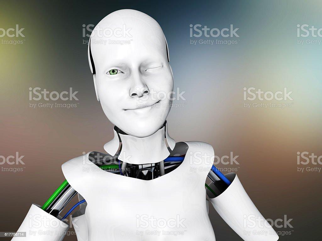 Flirting female humanoid robot stock photo