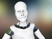 Flirting female humanoid robot