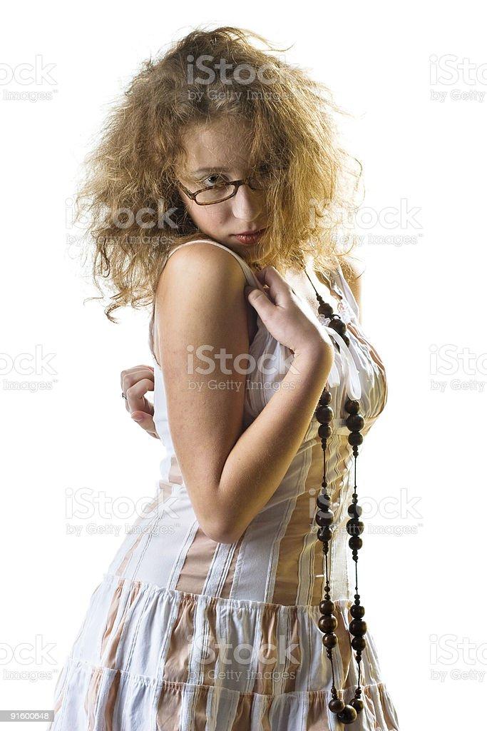 flirting girl in the white dress stock photo