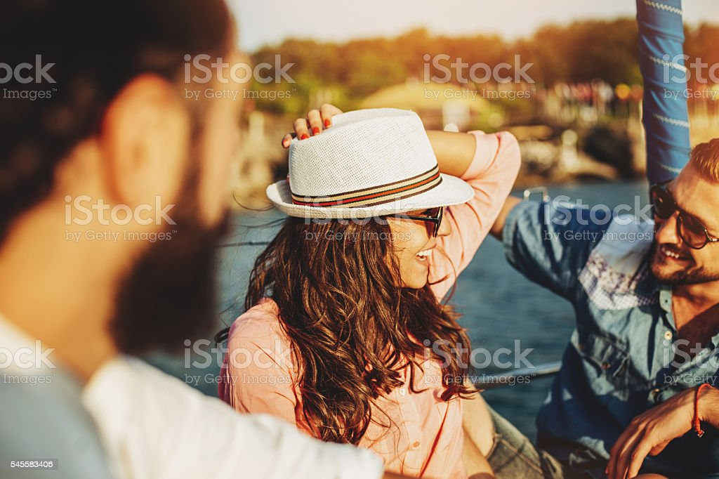 Flirting on a yacht stock photo