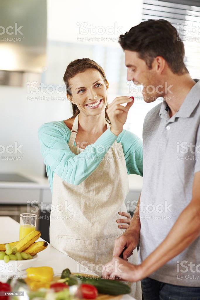 Flirting with food! royalty-free stock photo