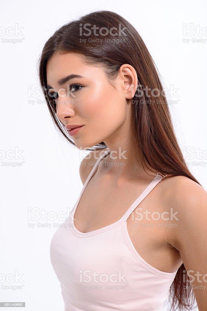 Flirty girl staring at someone stock photo