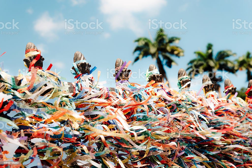 flittering colorful stripes at fence of bonfim in Salvador Brazil stock photo