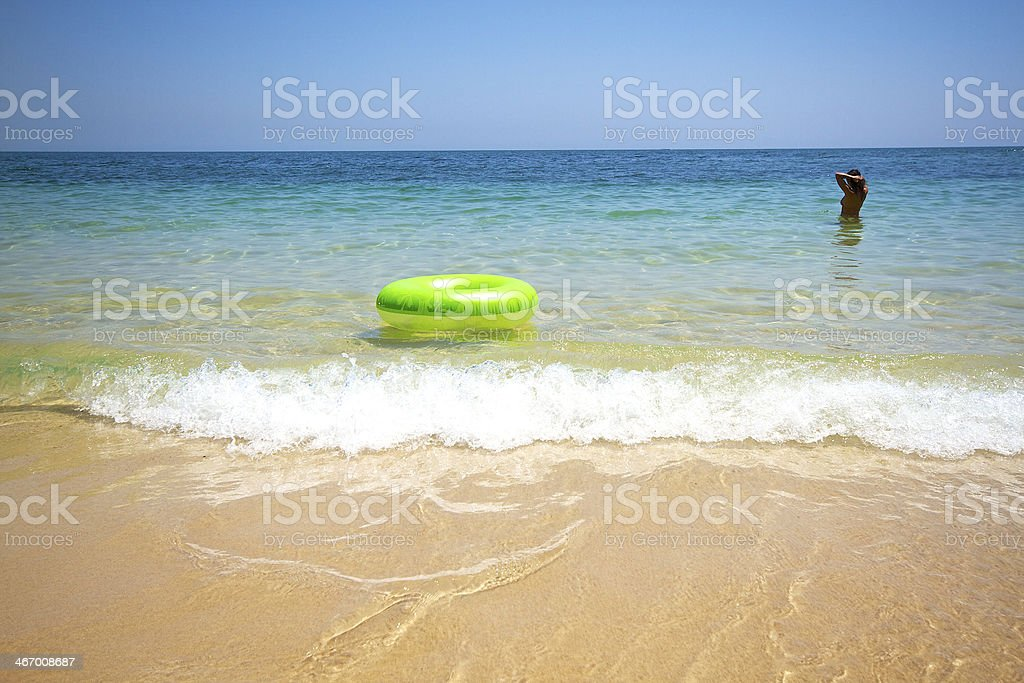 Float and woman stock photo