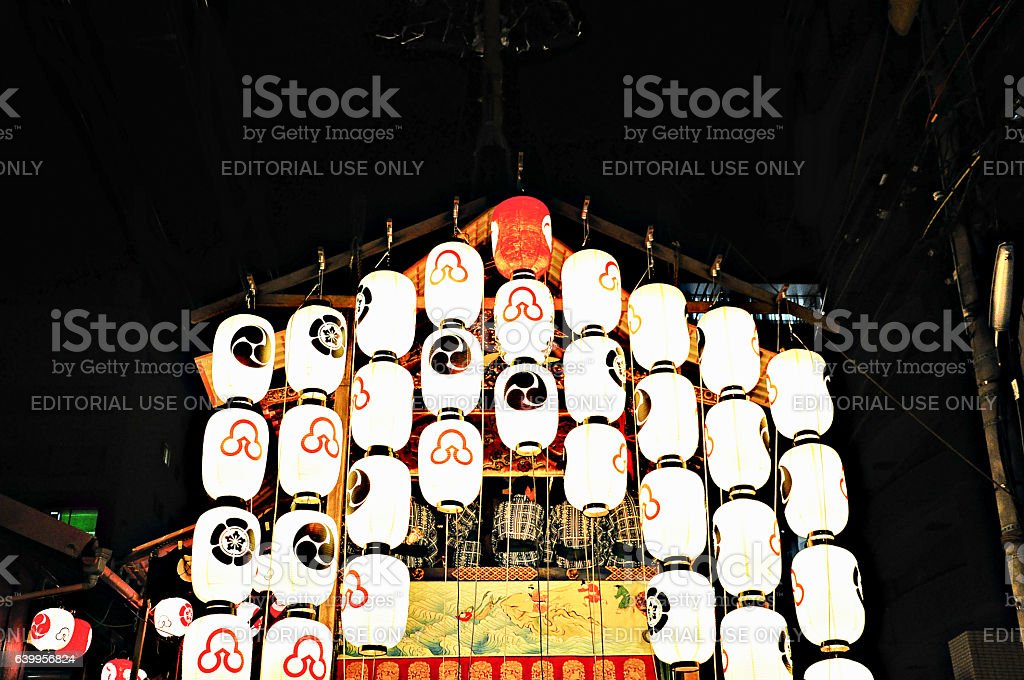 Float decorated with Lanterns in Kyoto Gion Festival stock photo