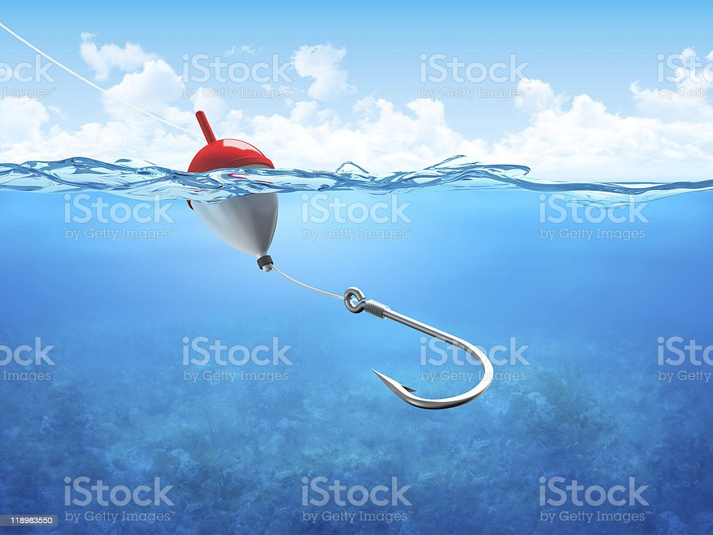 Float, fishing line and hook underwater vertical stock photo