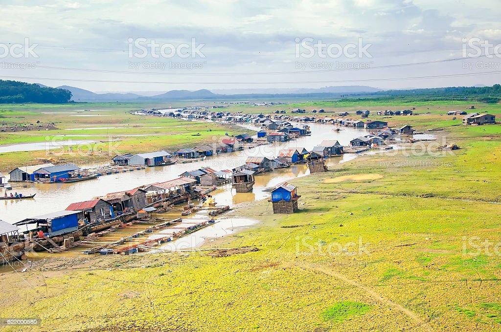 Float fishing village on La Nga river, Dong Nai, Vietnam stock photo