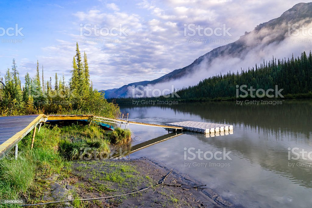Float plane dock at Virginia falls stock photo