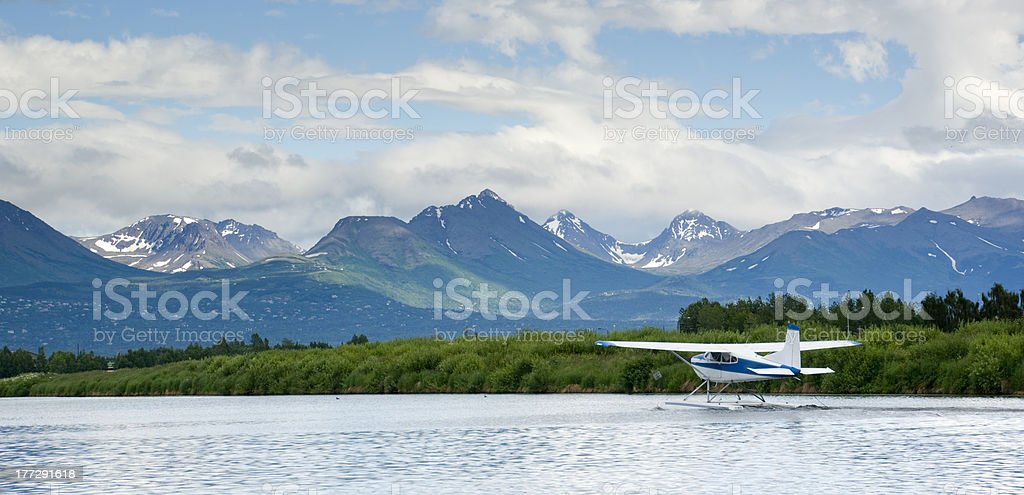 Float Plane Taxis for Take off Airport Lake in Alaska stock photo