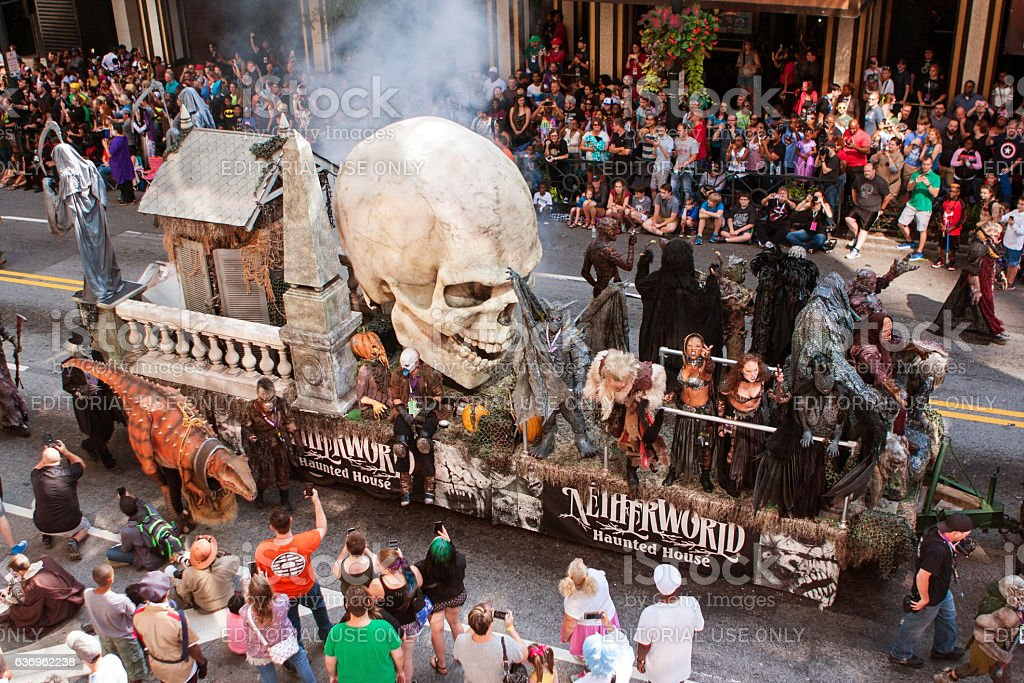 Float Promoting Haunted House Moves Through Atlanta Dragon Con Parade stock photo