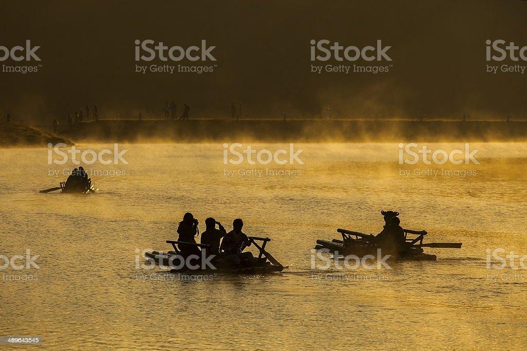Float raft downstream stock photo