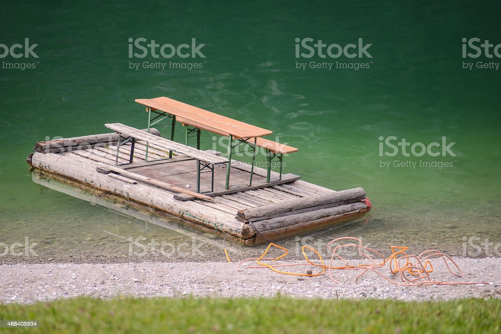 float with ale-bench on Sylvenstein lake stock photo