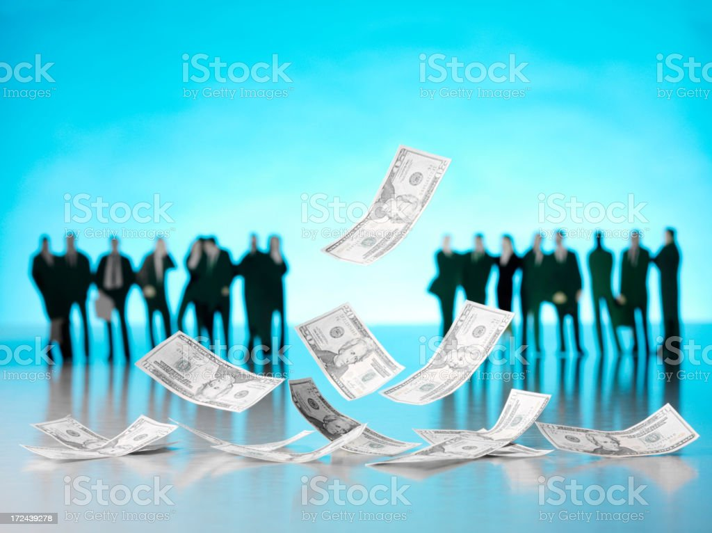 Floating 100 American Dollar Bills with Business People royalty-free stock photo