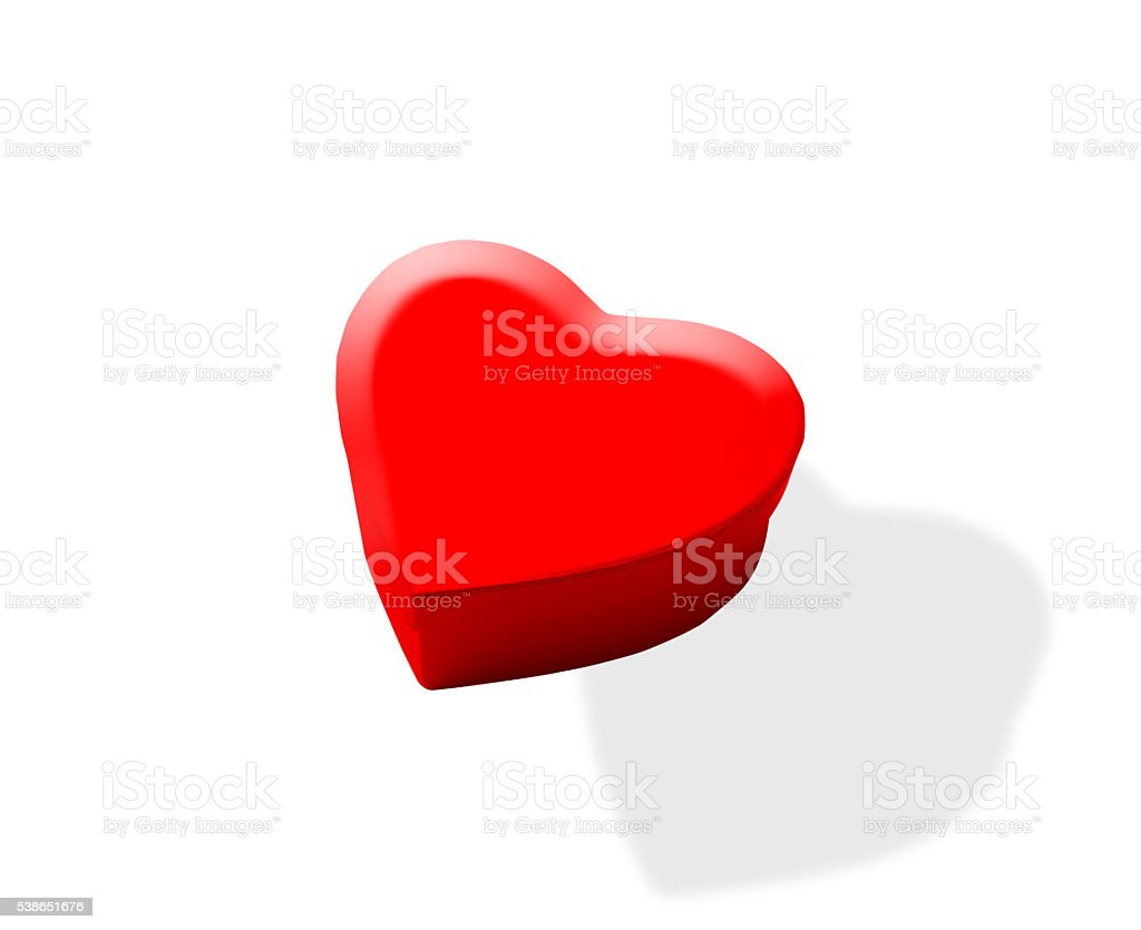 Floating a red heart shape box on white background stock photo