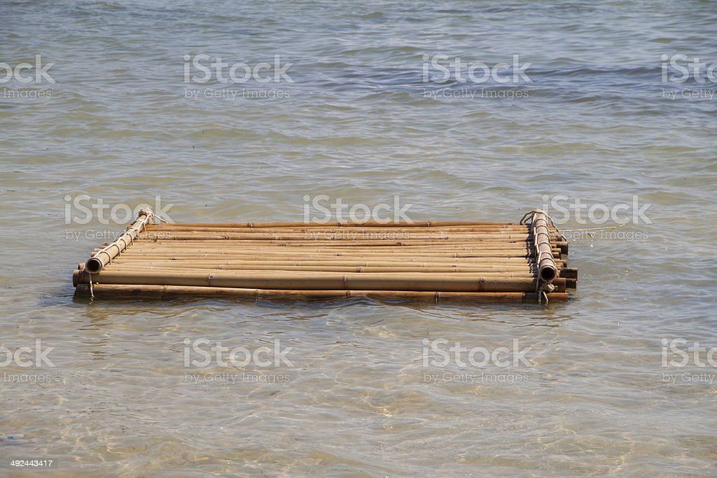 Floating bamboo raft stock photo