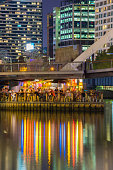Floating bar full of people in Melbourne at night