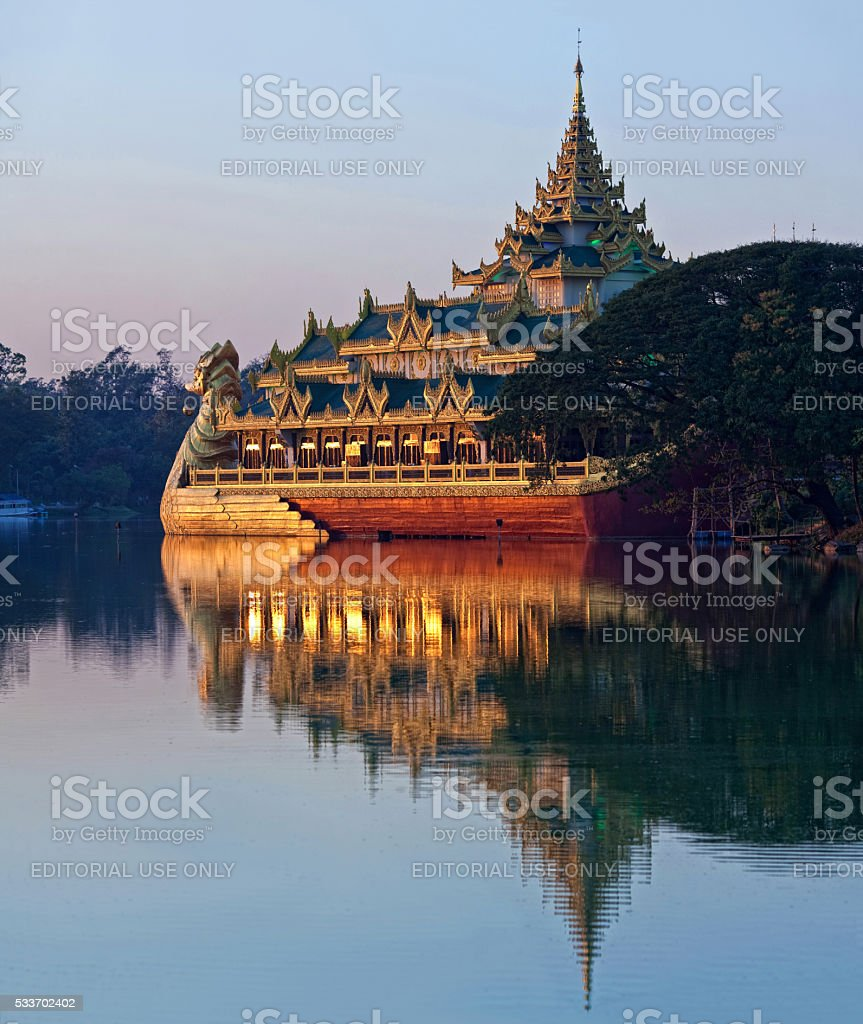 Floating Barge Karaweik in Yangon, Myanmar stock photo