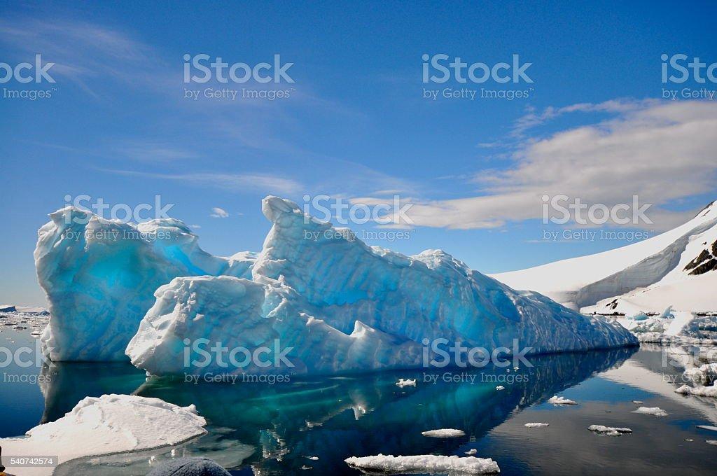 Floating Blue Ice in Antarctica Ocean stock photo