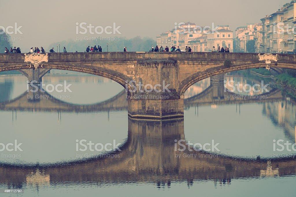 Floating bridge Florence faded stock photo