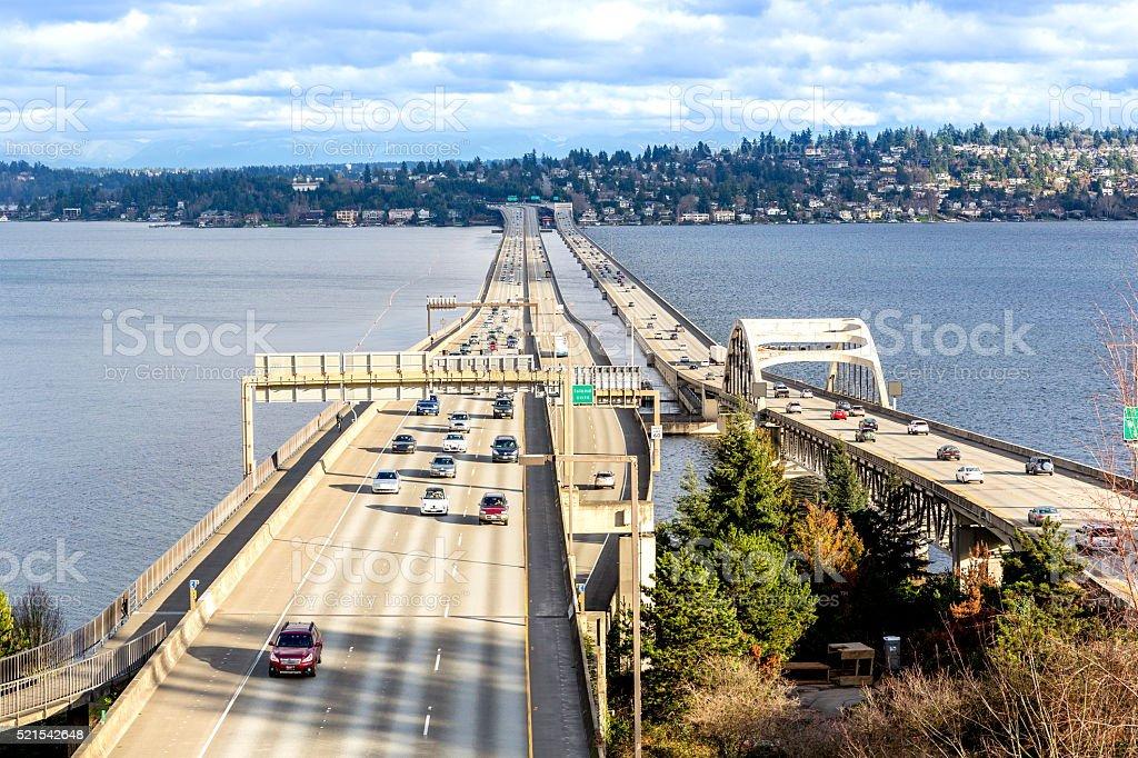 I-90 floating bridge, WA stock photo