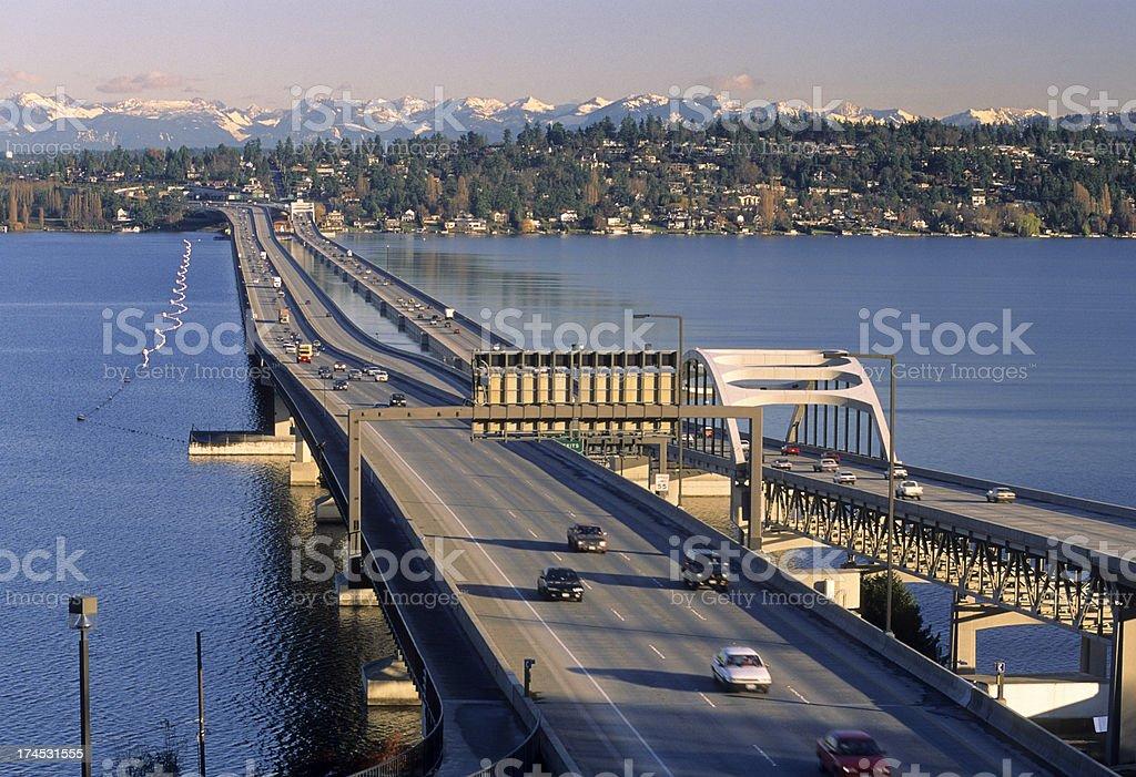 I-90 floating bridges across Lake Washington in Seattle royalty-free stock photo