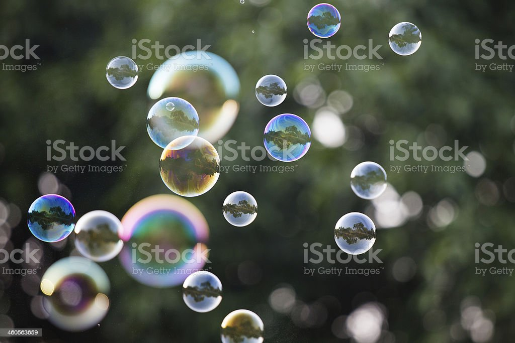 Floating bubbles in the air in sunlight stock photo