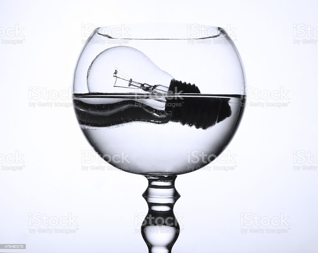 Floating bulb in a bowl stock photo