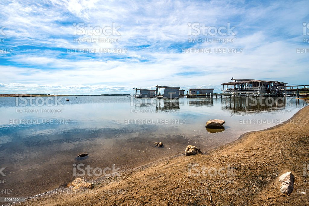 Floating bungalows on Uruguayan eco-lake Garzon stock photo