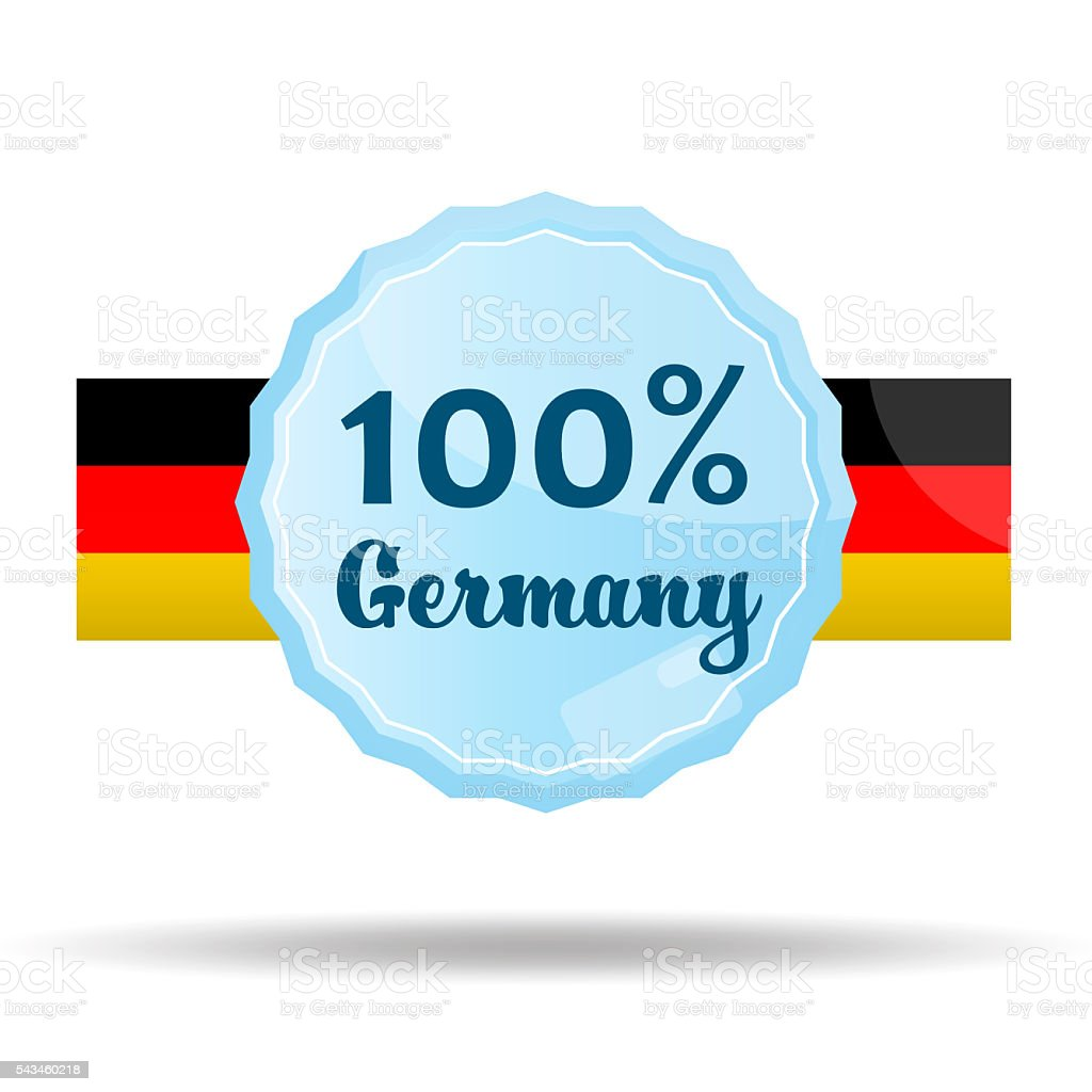 Floating Button or Badge with text 100 percent Germany stock photo