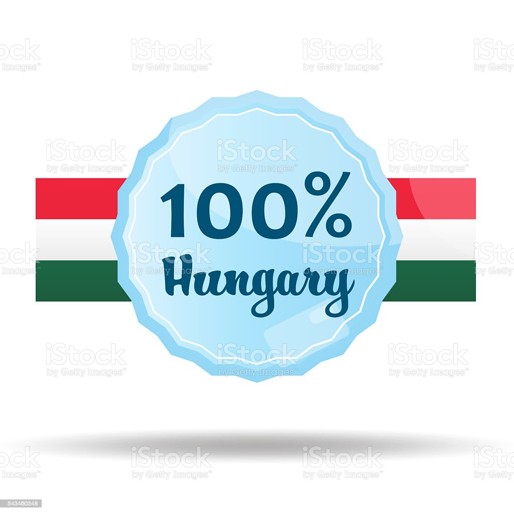 Floating Button or Badge with text 100 percent hungary stock photo
