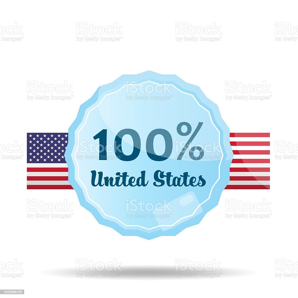 Floating Button or Badge with text 100 percent USA stock photo